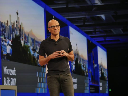 Microsoft CEO Satya Nadella on stage at Build 2017