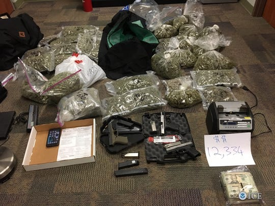 This collection of weapons, marijuana and other drug paraphernalia was seized during a six-week nationwide gang operation led by U.S. Immigration and Customs Enforcement's Homeland Security Investigations with arrests across the United States – the largest gang surge conducted by the branch of the department to date. The operation targeted gang members and associates involved in transnational criminal activity, including drug trafficking, weapons smuggling, human smuggling and sex trafficking, murder and racketeering.