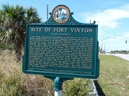 A Florida State Historic Marker indicates the approximate site of Fort Vinton in Indian River County. The fort was renamed after Major John Rogers Vinton in 1850.