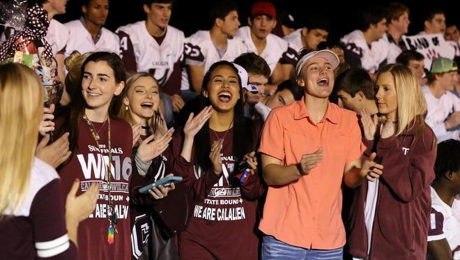 Calallen students cheer during the community pep rally Wednesday, Dec. 14, 2016, at Calallen High School in Corpus Christi. Calallen will be playing Aledo High School for the Class 5A Division II State Championship on Friday.