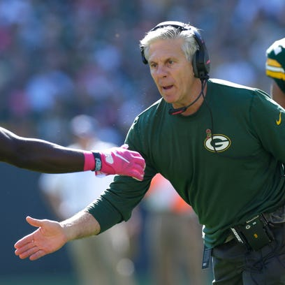Green Bay Packers special team coach Ron Zook is shown