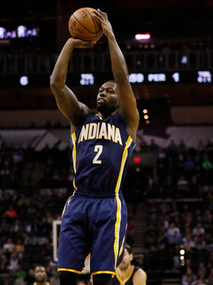 Nov 26, 2014; San Antonio, TX, USA; Indiana Pacers point guard Rodney Stuckey (2) shoots the ball against the San Antonio Spurs during the first half at AT&T Center. Mandatory Credit: Soobum Im-USA TODAY Sports