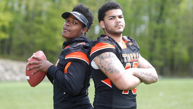 Spring Valley High School junior's Ori Jean-Charles, left, and Devan Lawson photographed at Spring Valley High School in Spring Valley on Wednesday, May 11, 2016.