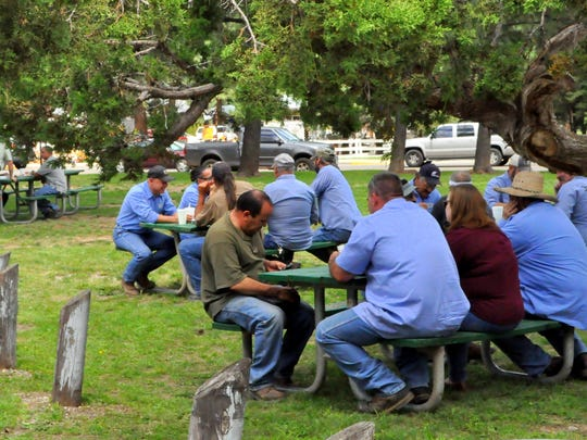 Some of the village employees who keep things working in Ruidoso took time out to enjoy the annual picnic.