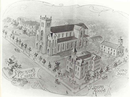 This 1876 engraving shows Broome County's first Irish Catholic Church, St. Patrick's in Binghamton.