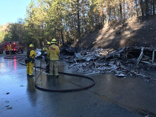 Remains of a big rig after it burned in a fire Tuesday