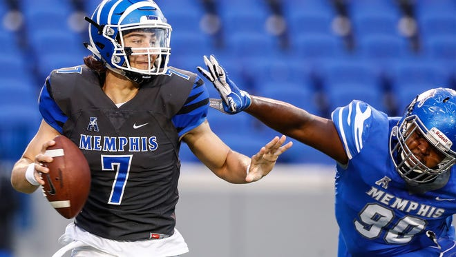 Quarterback Brady Davis' time at Memphis was hampered by a kneeinjury that caused him to miss the 2016 season.