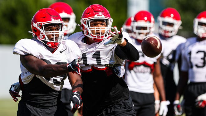 Georgia outside linebacker Jermaine Johnson (11) during the Bulldogs' practice session in Athens, Ga., on Monday, Sept. 7, 2020.