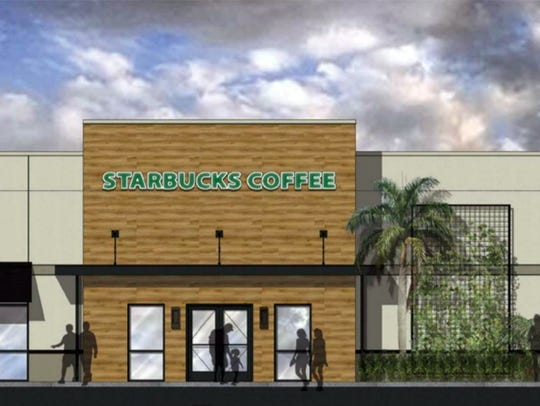 A rendering of the Starbucks drive-thru being built