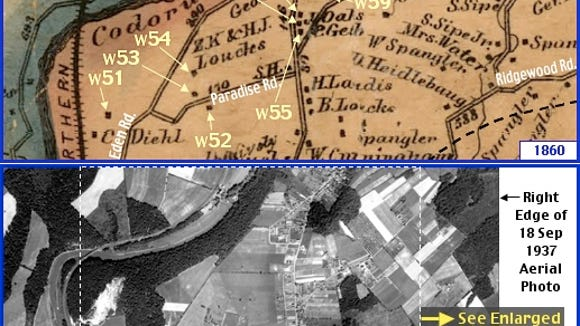 Pleasureville Region in what is now Springettsbury Township; from Shearer's 1860 Map of York County, PA & Penn Pilot Aerial Photo, from September 18, 1937, of Same Area (Annotations by S. H. Smith, 2016).