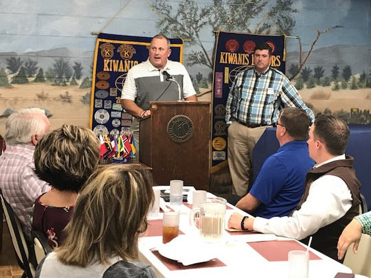 Grant recipient Brett Lang, director of Fellowship of Christian Athletes, extended his thanks the Kiwanis Club for their support during the San Angelo Downtown Kiwanis Club meeting Tuesday, Oct. 17, 2017.
