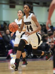 Ossining freshmen Jaida Strippoli, left, and Aubrey Griffin during the Class AA final at the Westchester County Center Feb. 28, 2016.