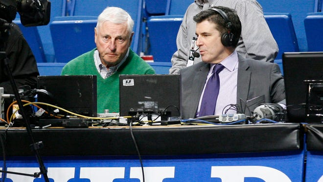 ESPN announcers Bobby Knight and Rece Davis pictured before UK's Feb. 27, 2014 game against Arkansas at Rupp Arena.