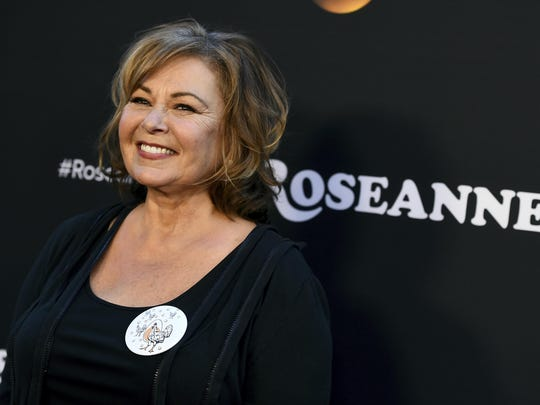 "In this March 23, 2018, file photo, Roseanne Barr arrives at the Los Angeles premiere of ""Roseanne"" on Friday in Burbank, Calif."