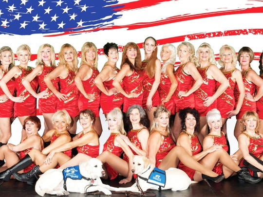The Calendar Girls, 30 women strong, entertain to raise funds for guide dogs for veterans.
