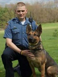 Green Township K-9 Officer Anthony Leibendor and Dino