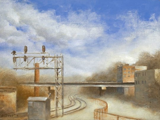 "This painting, ""Dustbowl,"" was submitted by artist and UNC Asheville student Jason Rafferty as part of his proposal for the Buncombe County Courthouse history wall."