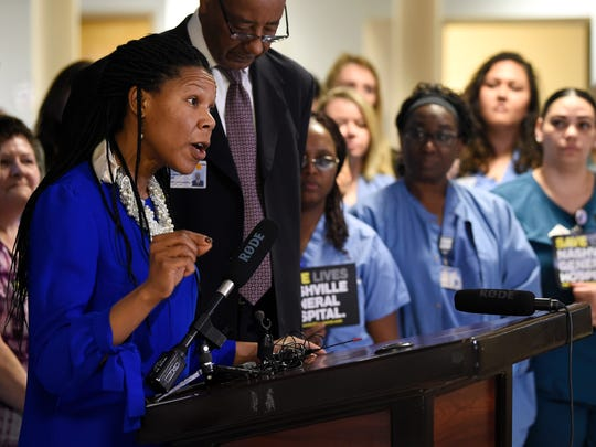 Nashville City Council member Erica Gilmore speaks at a press conference Jan. 26 at Nashville General Hospital.