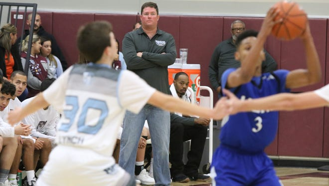 Rancho Mirage head coach Rob Hanmer during the game against Cathedral City High at the Rancho Mirage Holiday Invitational in Ranch Mirage on Tuesday, December 26, 2017.
