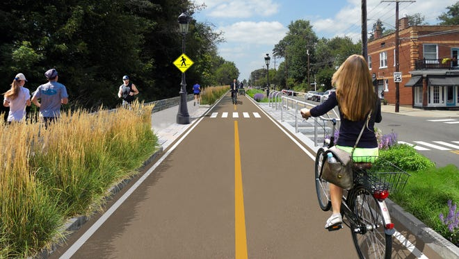 Wasson Way Project volunteer Christopher Wyatt's rendering of a bike trail running along the border of Hyde Park and Oakley.