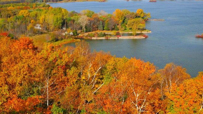 Door County, Wisconsin, is ablaze with fall colors in October.