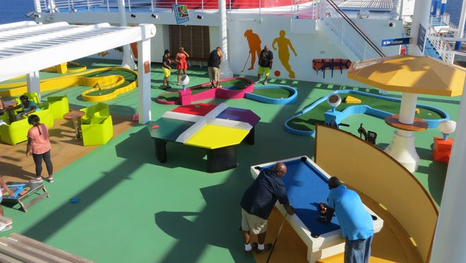 The Carnival Vista has many on board activities, including mini golf and pool.