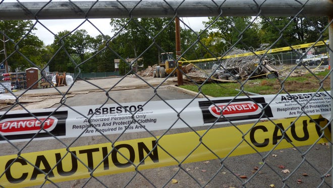 The asbestos tape at a construction site in Plainfield that is causing concern with some area residents.