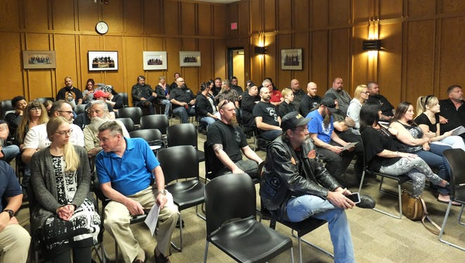 The Cudahy City Hall was full when the plan commission reviewed a proposal for a conditional use permit allowing the Iron Breed motorcycle club to move into a building on Packard Avenue. The commission denied the proposal.