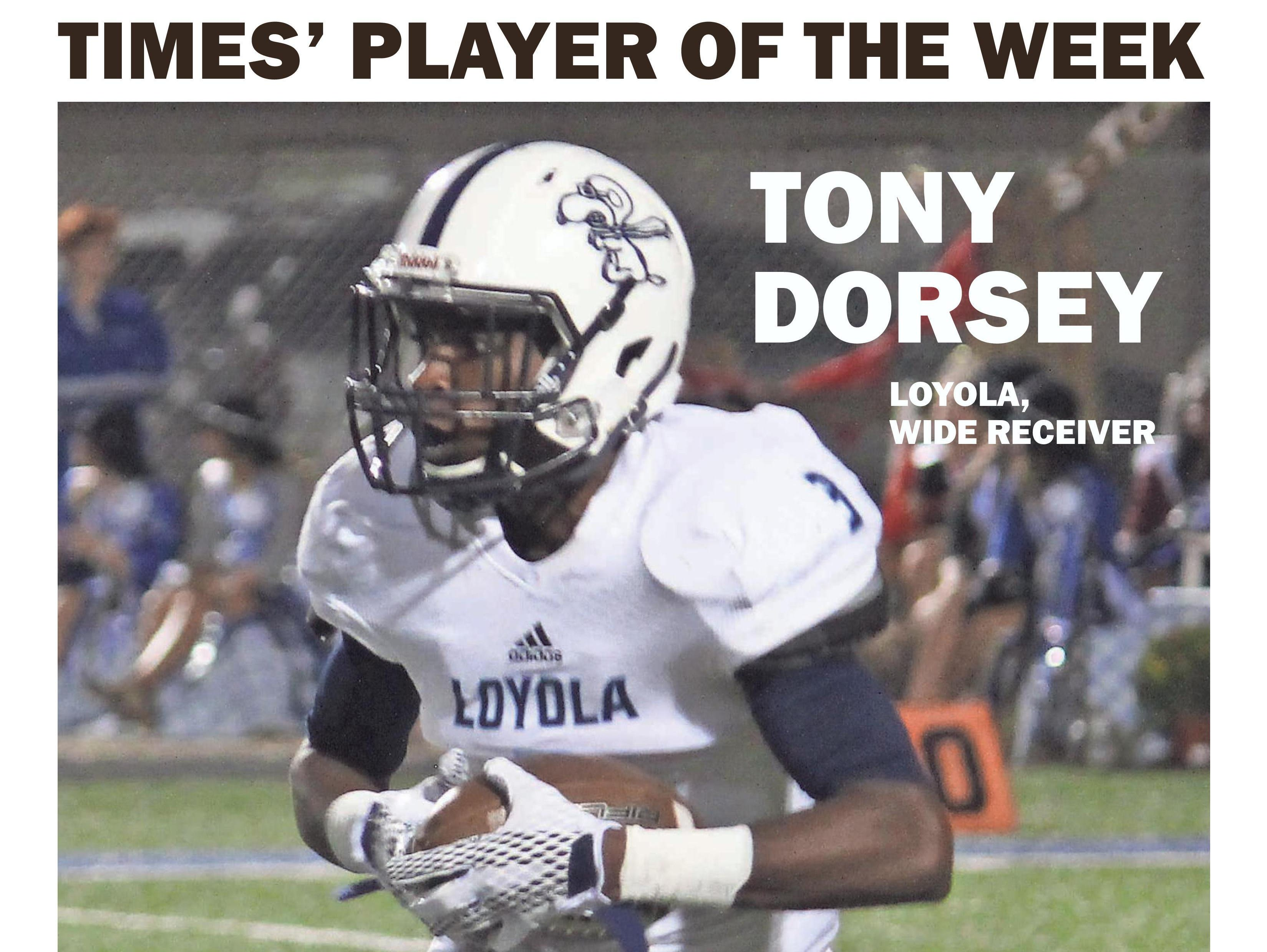 Loyola receiver Tony Dorsey captured Player of the Week honors for Week 7.