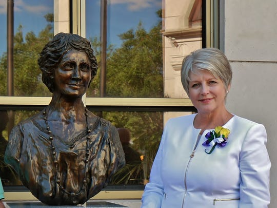 Sculptor Wanda Stanfill smiles May 25 at the unveiling of the Sue Shelton White monument at City Hall.
