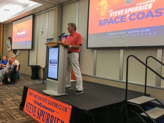 Steve Spurrier speaks at the Kennedy Space Center Visitor