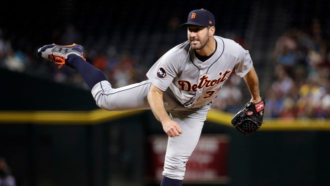 Tigers starting pitcher Justin Verlander throws against the Diamondbacks during the third inning May 9, 2017 in Phoenix.
