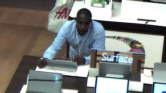 Police are trying to identify three men who they say stole computers and computer accessories from a store at Christiana Mall.