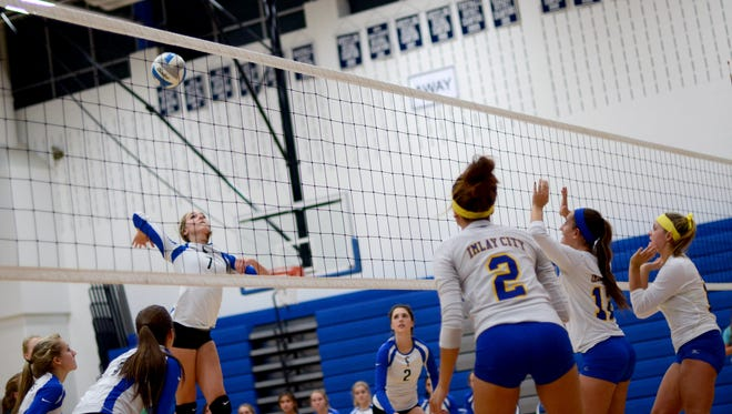 Pioneers' Lexie Davidson prepares to hit over to Imlay City's side Monday, Nov. 2, during district volleyball at Cros-Lex.