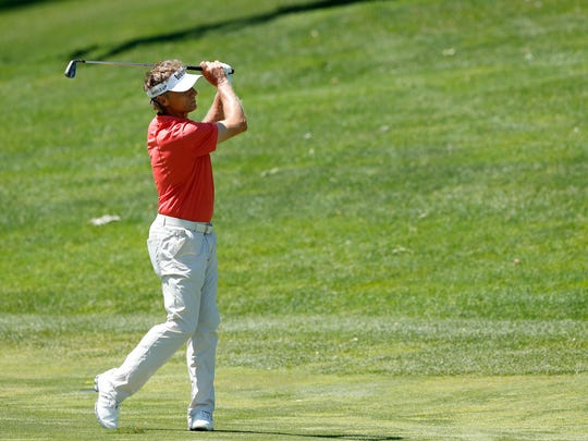 Bernhard Langer hits on the first fairway during the second round of the PGA Tour Champions Principal Charity Classic golf tournament, Saturday, June 10, 2017, in Des Moines, Iowa. (AP Photo/Charlie Neibergall)