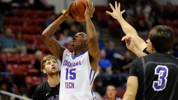 Louisiana Tech forward Branden Sheppard goes up for