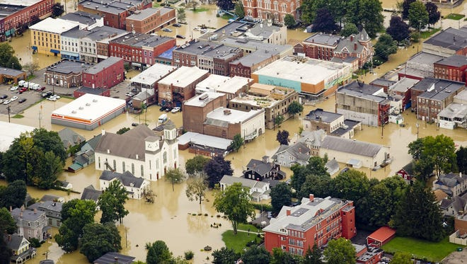 Downtown Owego in the aftermath of the 2011 flood.
