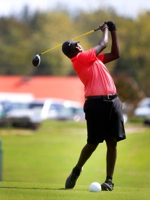 Memphis Middle CollegeÕs Gregory Odom tees off during the final round of the TSSAA Division I small division boys' golf championship, on Wednesday, Sept. 27, 2017, at WillowBrook Golf Club in Manchester.