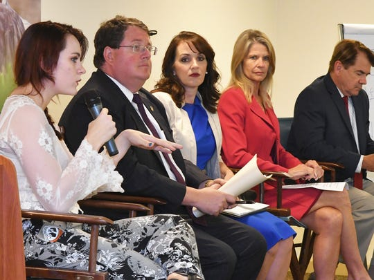 FLORIDA TODAY hosted a town hall meeting concerning school safety on Wednesday in their community room. The guest speakers were, left to right, Sarah Adams, a Satellite High  senior, State Representative Randy Fine, School Board Vice Chair Tina Descovich, State Senator Debbie Mayfield, and State Representative Thad Altman.