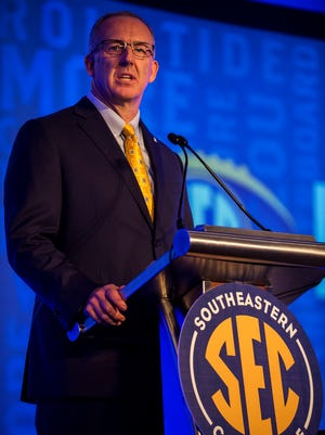 SEC Commissioner Greg Sankey speaks during Day 1 of SEC Media Days on Monday, Jul. 11, 2016 at the Wynfrey Hotel in Hoover, Ala.