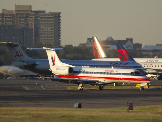 An American Eagle Embraer 135LR regional jet, similar to the type of jet that is coming to Salisbury's airport, lands at Ronald Reagan National Airport in Arlington, Virginia, in this 2010 photo.