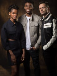 Letitia Wright (from left), Chadwick Boseman and Sebastian