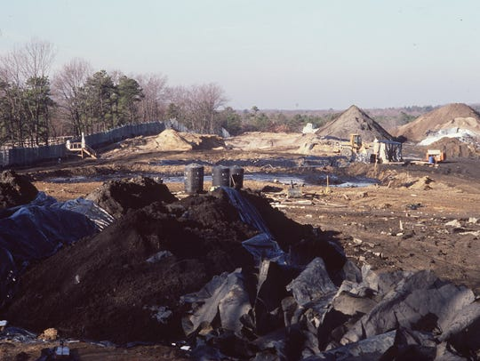 The Burnt Fly Bog Superfund site, as seen in this 2003