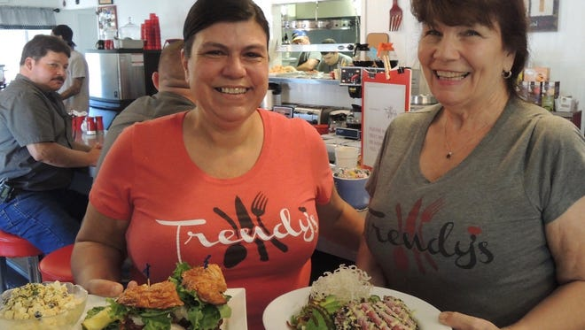 Wendy Krause and Kathi Potter during lunch hour at Trendy's in Redding.