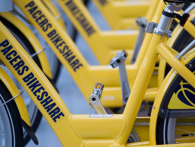 Detail of a bike on the road that's part of Indiana Pacers Bikeshare program, designed as a way to use a bicycle for short trips around downtown for a nominal fee, Tuesday, April 22, 2014.