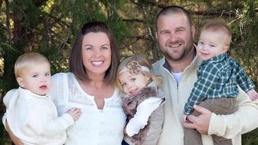 Nicole Jones with her husband, Clay, and their children Cole, Waverly and Cruze.