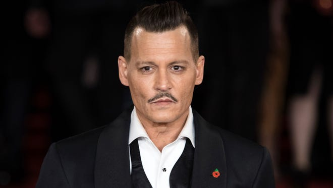 """Johnny Depp in November 2017 at premiere of """"Murder on the Orient Express"""" in London."""