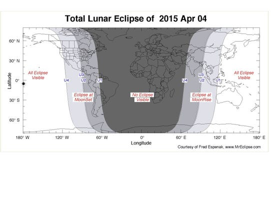 The total lunar eclipse will be visible in the western