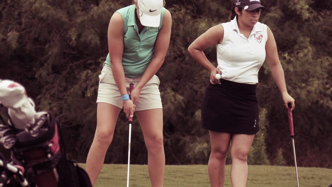 Christoval's Taylor Tomlinson putts during the UIL Class 2A State Golf Championships in 2017. Tomlinson fired back-to-back rounds of 76 to win the state title by five shots.