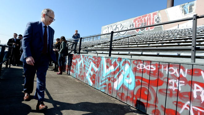 Nashville Mayor David Briley walks inside Greer Stadium after speaking about the future of Fort Negley and Greer Stadium on Tuesday, March 13, 2018, in Nashville Tenn. He was joined by officials from the city parks department and historic preservation advocates. The fort and ballpark have been at the center of controversial redevelopment plans in recent months. Greer Stadium will be demolished and redeveloped into a park.
